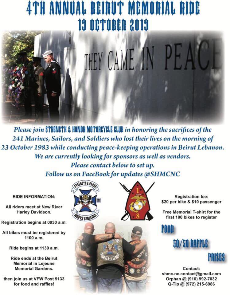 4th Annual Beirut Memorial Ride Oct. 19